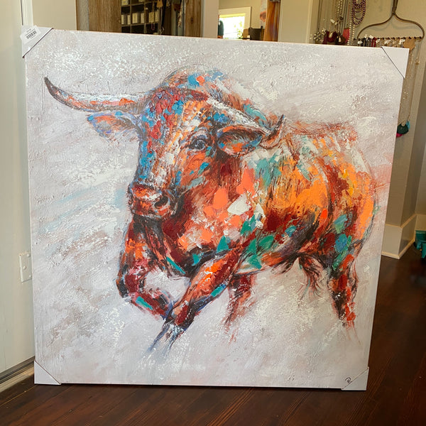 Colorful Bull canvas