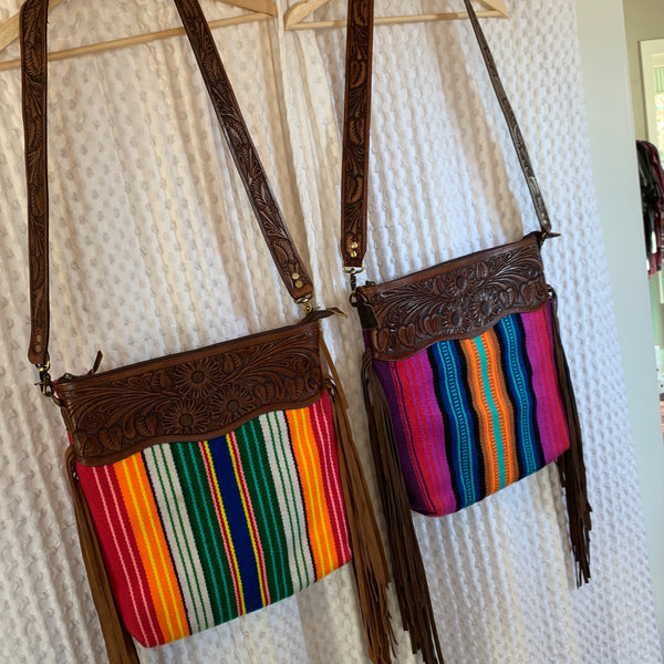 Serape leather fringe bag