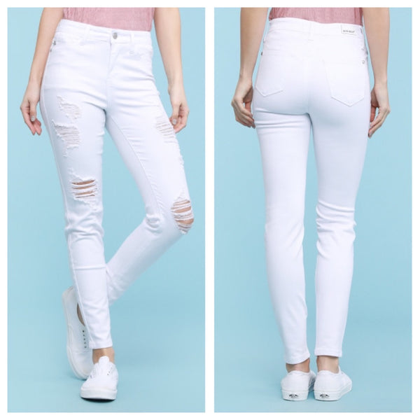 White ankle frayed destroy skinny jeans