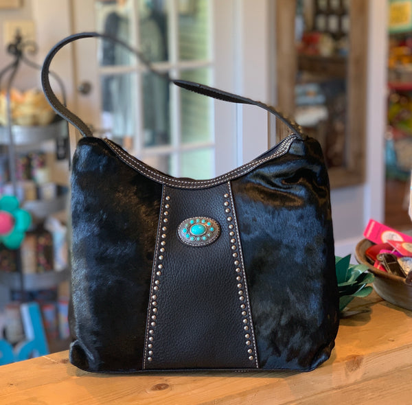 Black Hair On Handbag w/ Turquoise