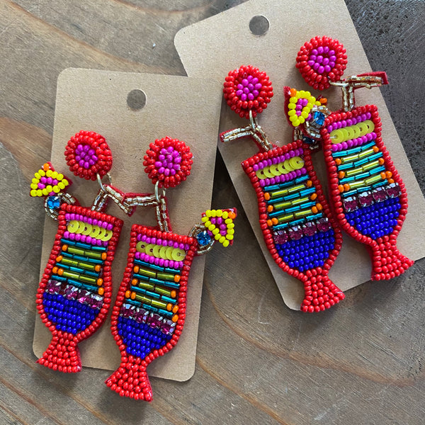 Beaded Tropical Drink earrings - Red