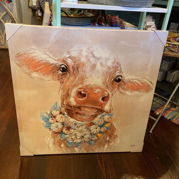 Cow w/ necklace canvas