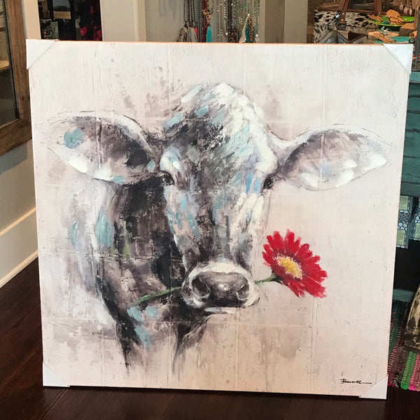 Cow w/ Red Flower canvas