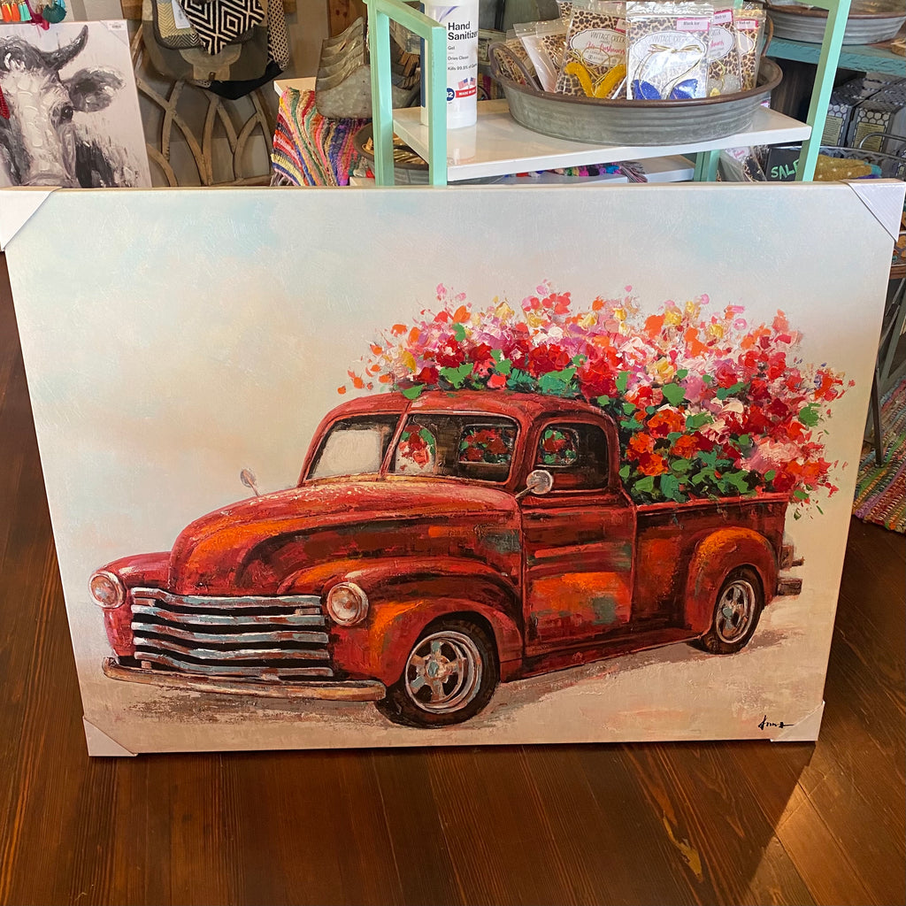 Red truck w/ flowers canvas