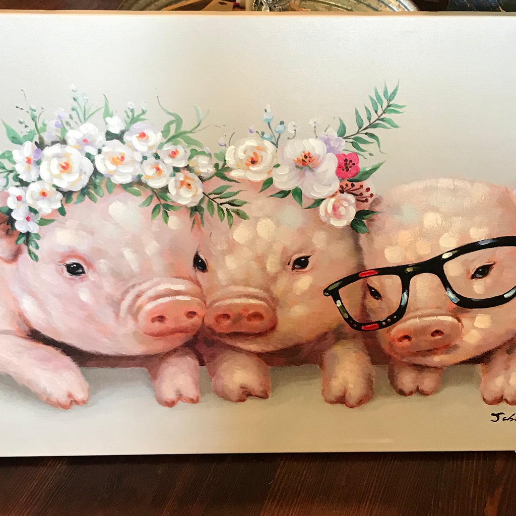 Triple Pig canvas