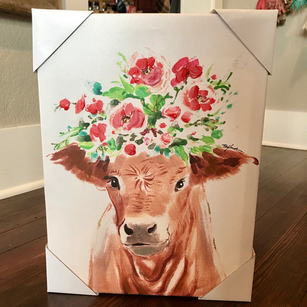 Cow Bust w flower canvas