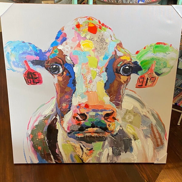 Colorful Cow w/ tags canvas
