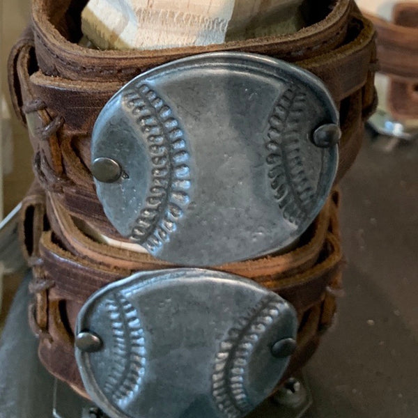 Baseball leather cuffs