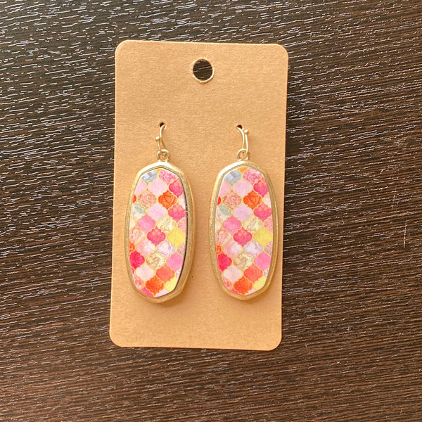 Mosaic gold earring