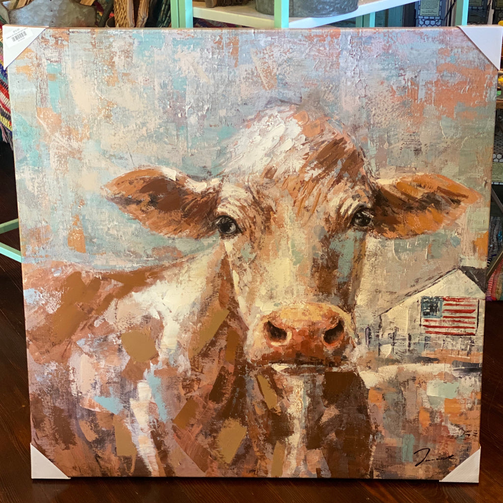 Cow w US Flag and barn canvas