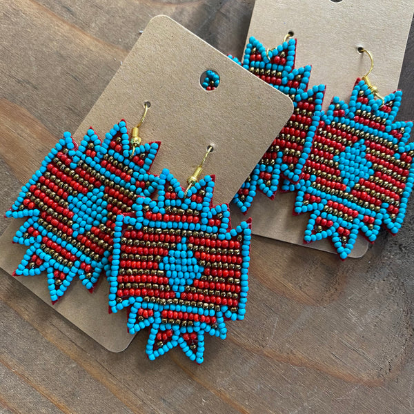 Beaded Aztec earrings - Aqua