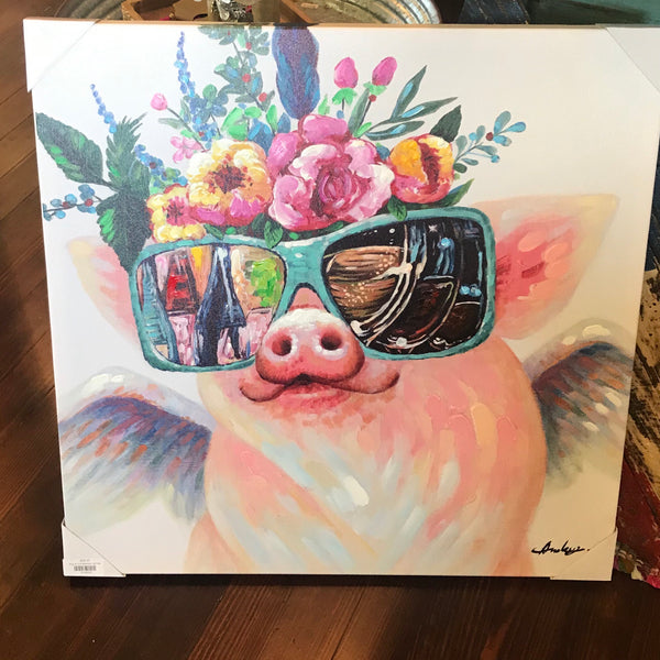 Pig w/ sunglasses canvas