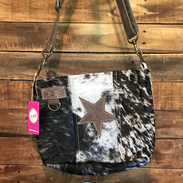 Cowhide w/ leather star purse