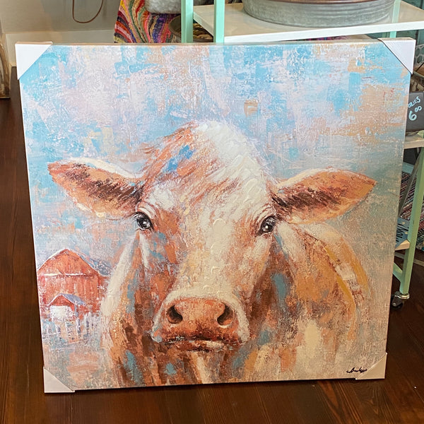 Cow w/ barn canvas