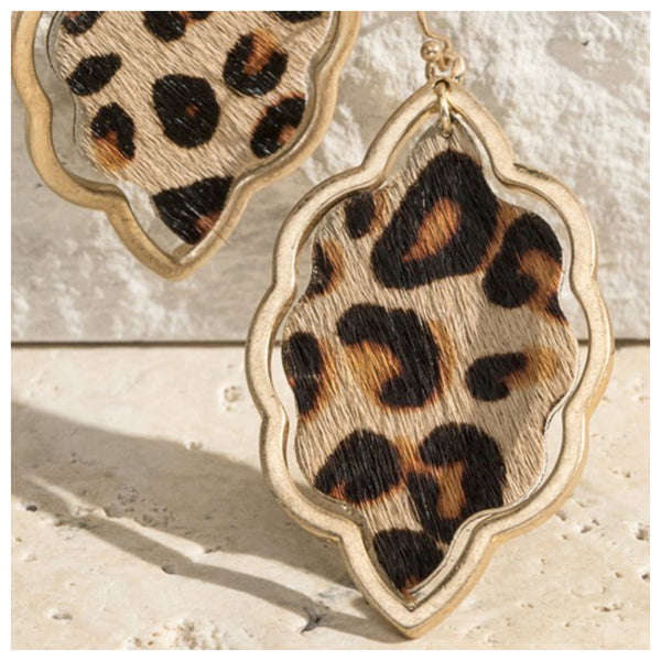 Faux leopard earrings