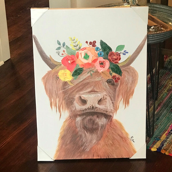 Hairy Cow w/ Flowers canvas