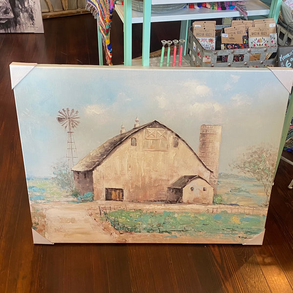 Barn w/ windmill canvas
