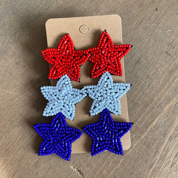 Patriot stars bead earring
