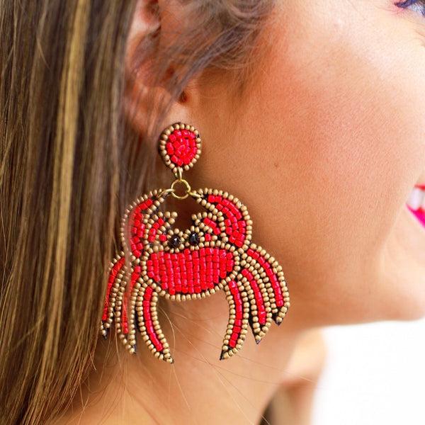 Beaded Crab earrings