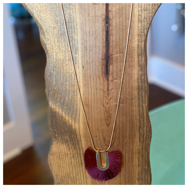 Burgundy fringe necklace