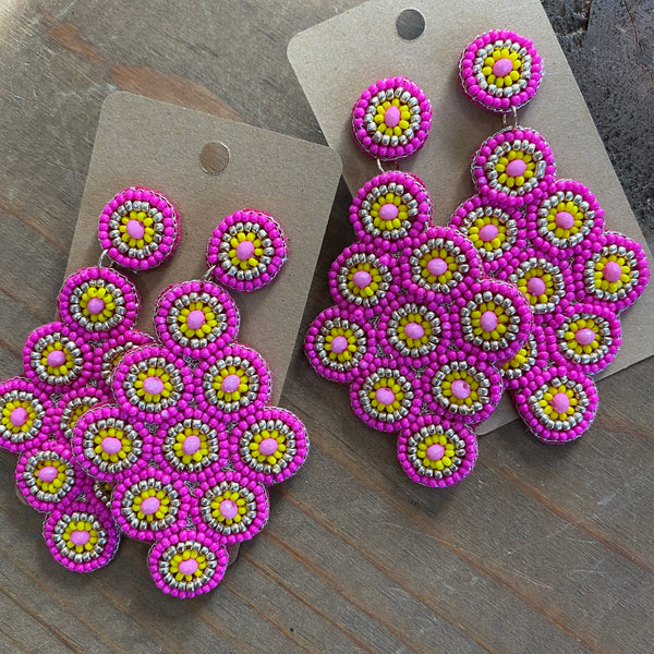 Beaded Cluster earrings - yellow/pink