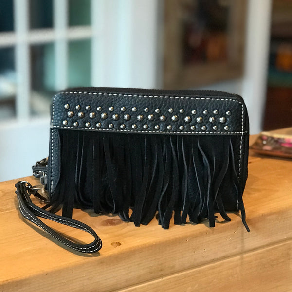 Black fringe leather wallet/clutch