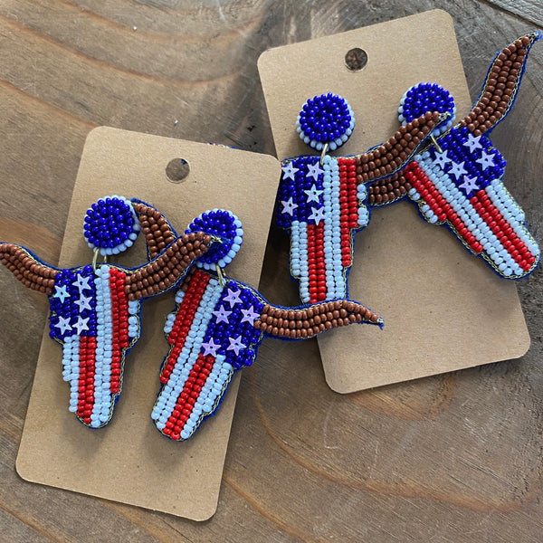 Beaded Patriotic Cowskull earrings