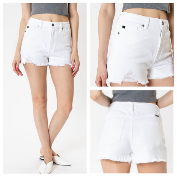 Kan Can White Summer jean shorts