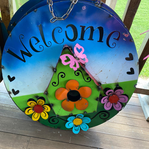 Metal-Welcome Birdhouse sign