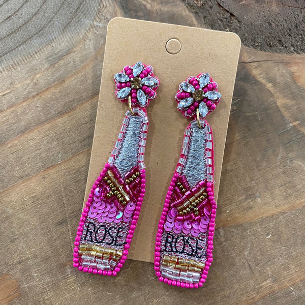Beaded Pink Rosé earrings