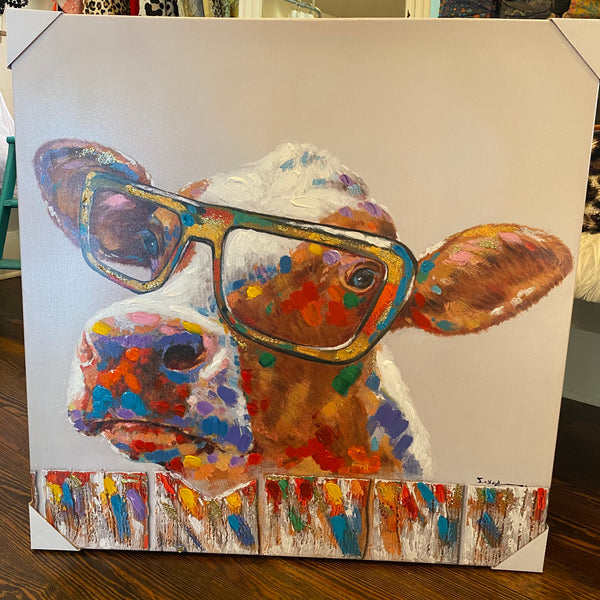 Cow w/ Glasses canvas