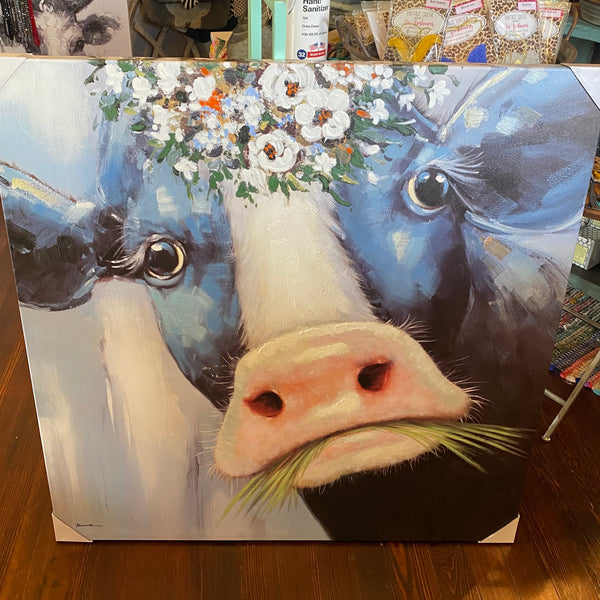 Milk Cow w/ flower canvas