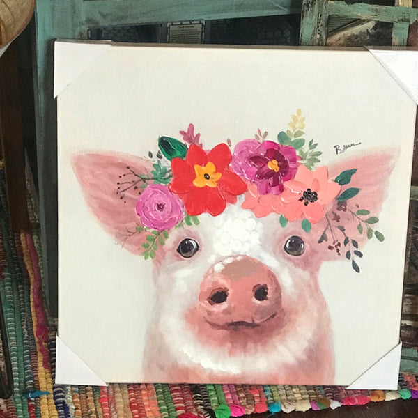 Pig w/ Flowers canvas