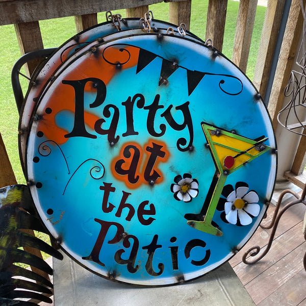 Metal-Party at the Patio sign
