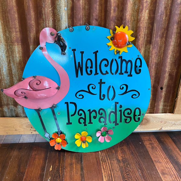 Metal-Flamingo Paradise disc sign