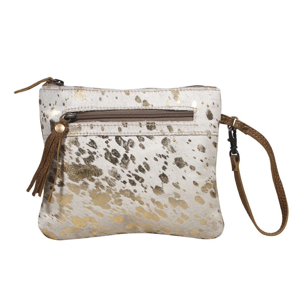Gold Spotted Leather Wristlet