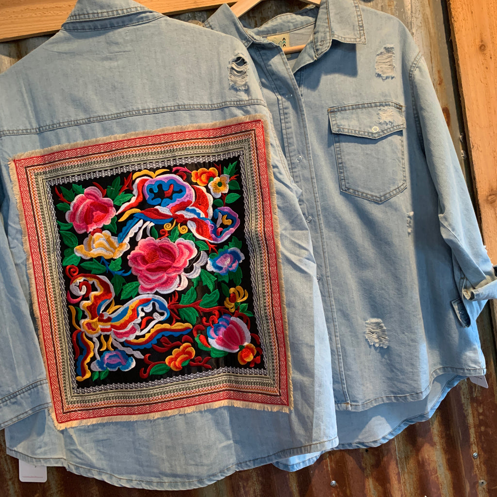 Denim Floral Embroidery top