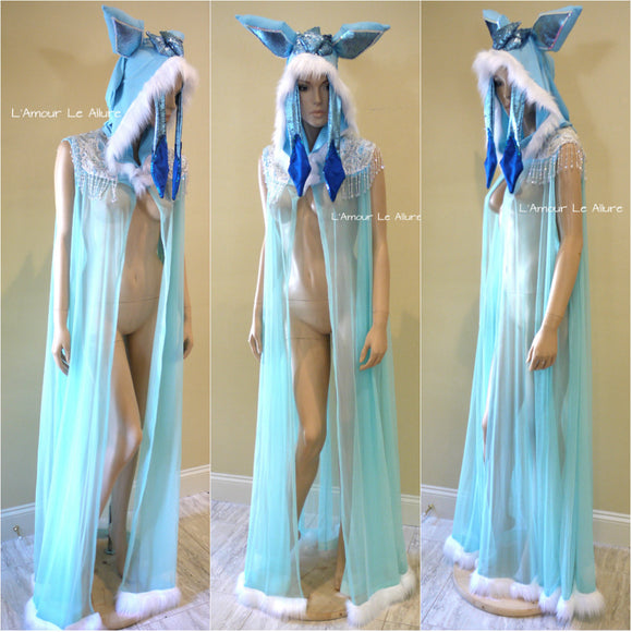 Glaceon Pokemon Ear Cape Robe Cosplay Dance Costume Halloween