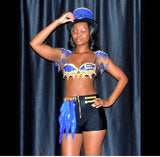Blue and Gold Fringe Ring Leader Costume