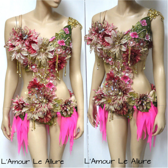 Golden Spring Forest Fairy Goddess Dance Costume Rave Bra Monokini Halloween