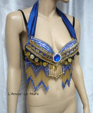 Electric Blue and Gold Gypsy Bra