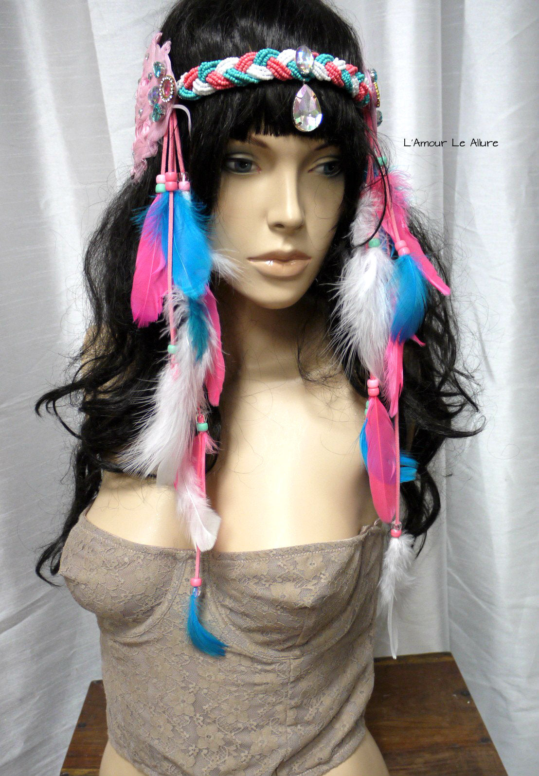 pink blue indian headdress feather native crown feather headband halloween costume