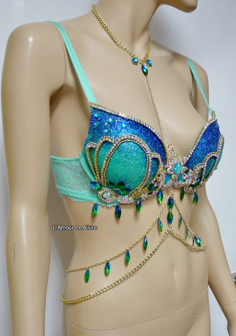 205b9ecbdb Blue Turquoise Glitter Mermaid Top Bra with Gold Chain – L Amour Le ...