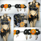 Dark Orange Halloween Fairy Dance Costume Rave Flower Crown Headdress Accessory
