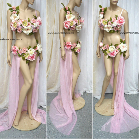 Two Piece Petal Pink Rose Fairy Gown with Train Costume