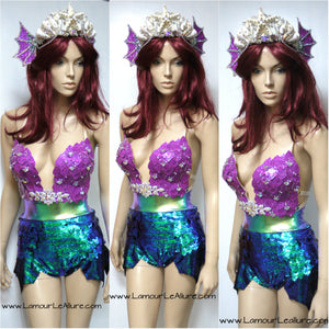 Ariel Iridescent Dragon Scale Mermaid Siren Costume