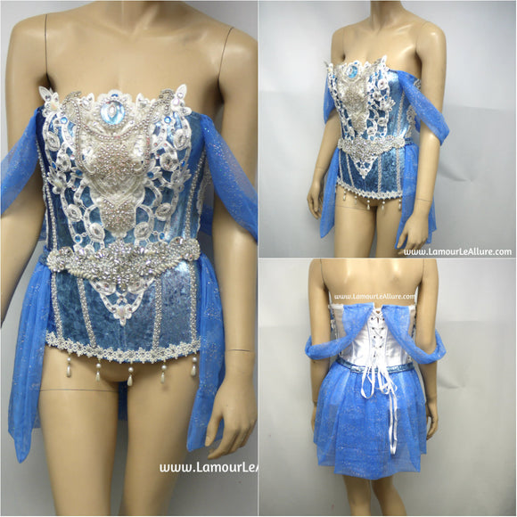 Disney Princess Cinderella Corset with Skirt Cosplay Dance Halloween Costume