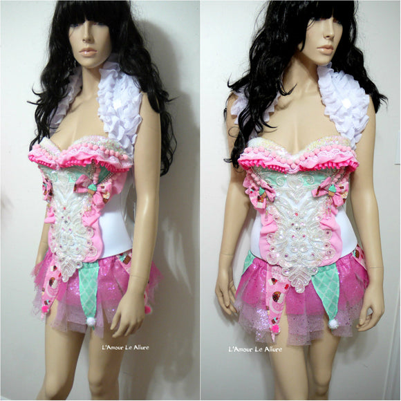 Cotton Candy Land Clown Circus Corset and Skirt Costume