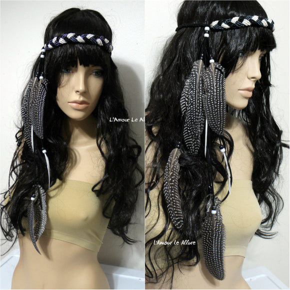 Black White Indian Headdress Feather Native Crown Feather Headband