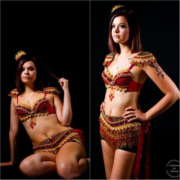{SALE ITEM} Red and Gold Fringe Ring Leader Costume